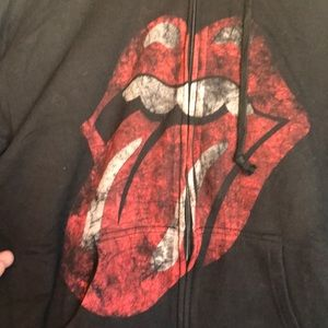 Rolling Stones distressed tongue hooded sweatshirt